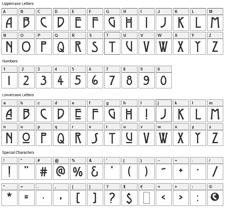 Dyer Arts and Crafts Font Character Map