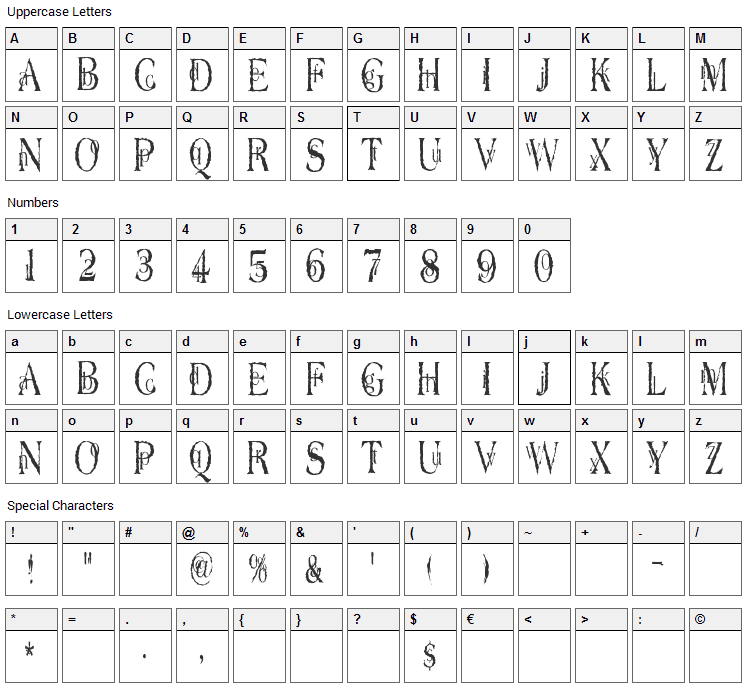 Dyers Eve Font Character Map