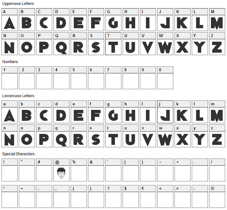 Dylan Dog Font Character Map