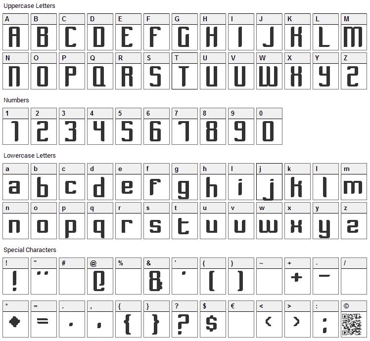 Dymeda Font Character Map
