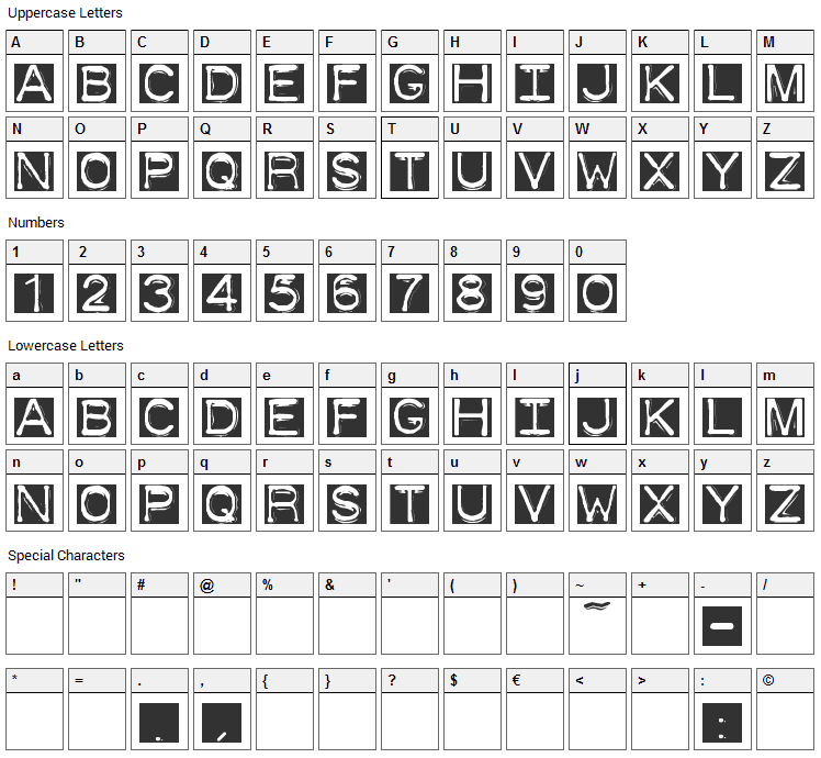 Dymo Font Invers Font Character Map