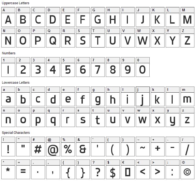 Dyno Sans Font Character Map