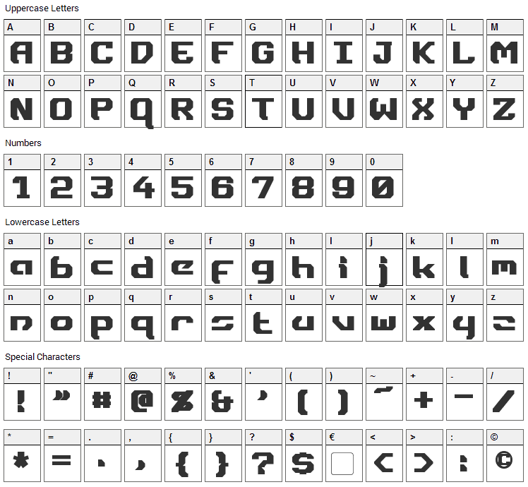 Dynotherm Font Character Map