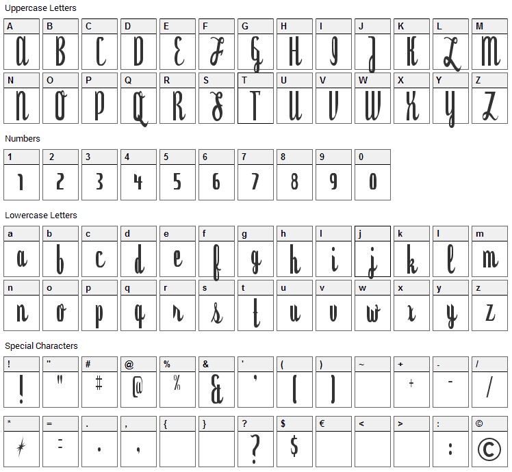 Dyspepsia Font Character Map