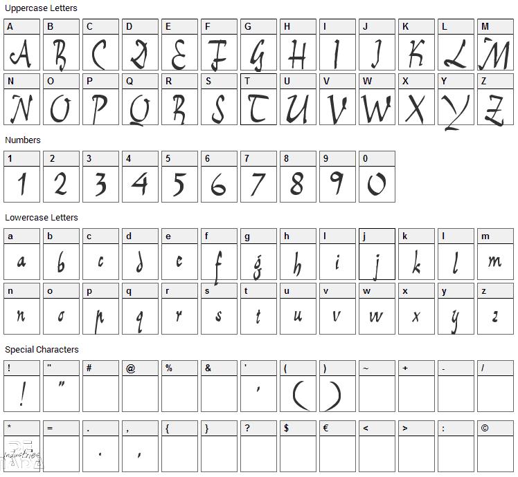 E-Brant Script Font Character Map