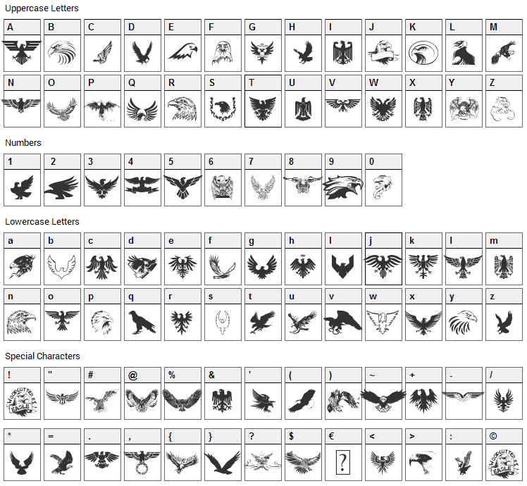 Eagle Font Character Map