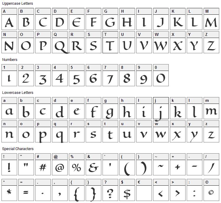 Eagle Lake Font Character Map