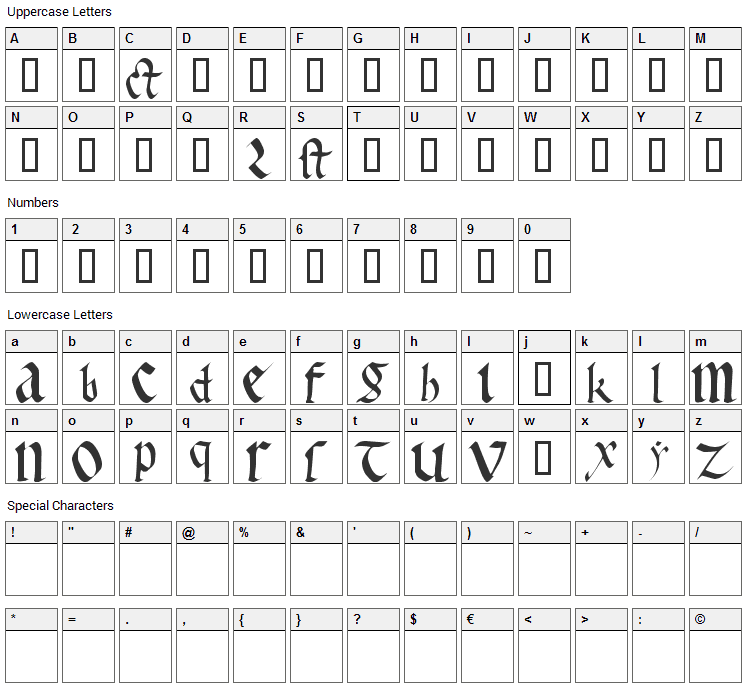 Early Gothic Font Character Map
