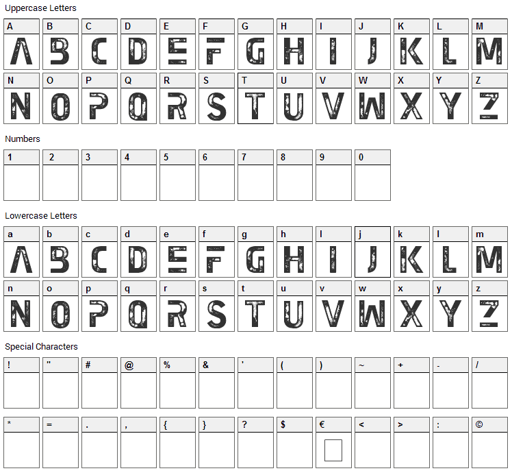 Earth Kid Font Character Map