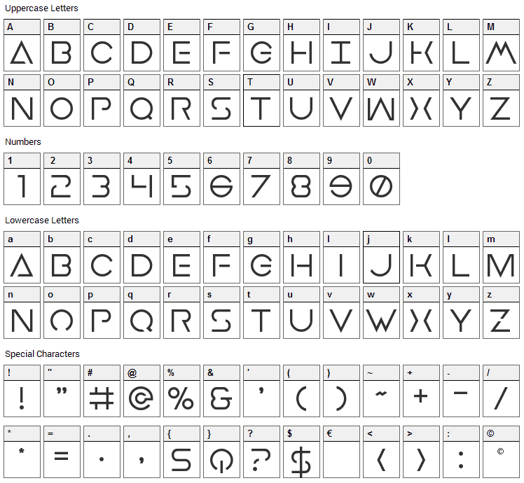 Earth Orbiter Font Character Map