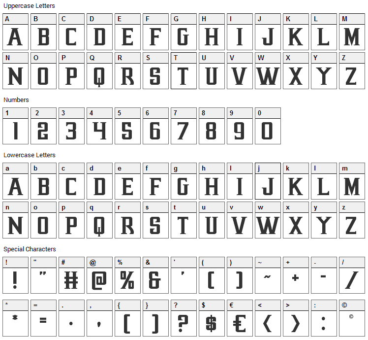 Earthrealm Font Character Map