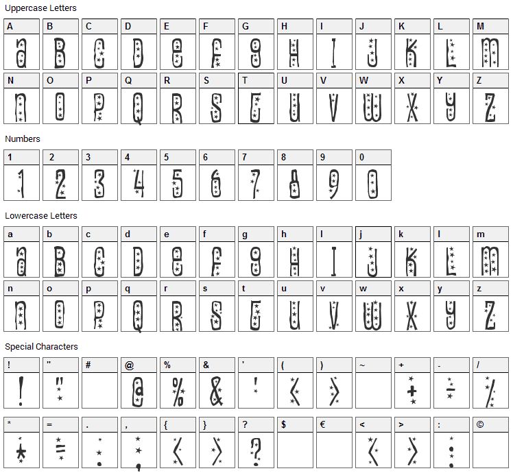 Easily Amused Font Character Map
