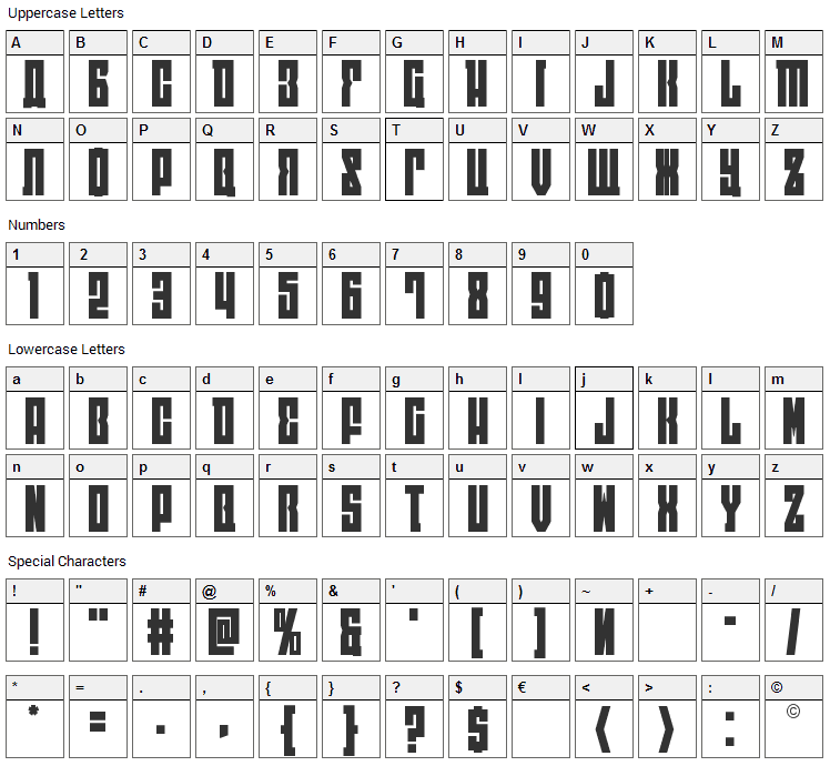 East-West Font Character Map