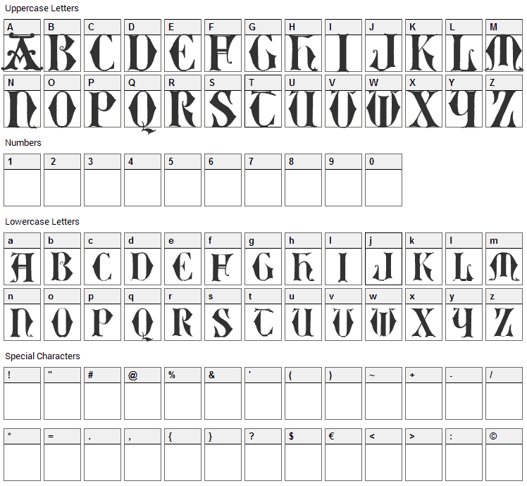 Easy Lombardic Two Font Character Map