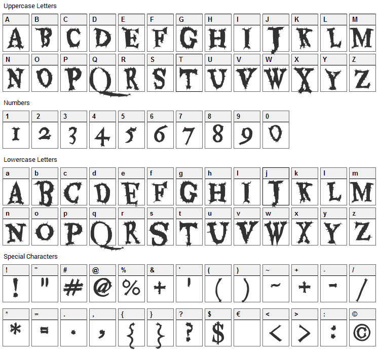 Eater Font Character Map