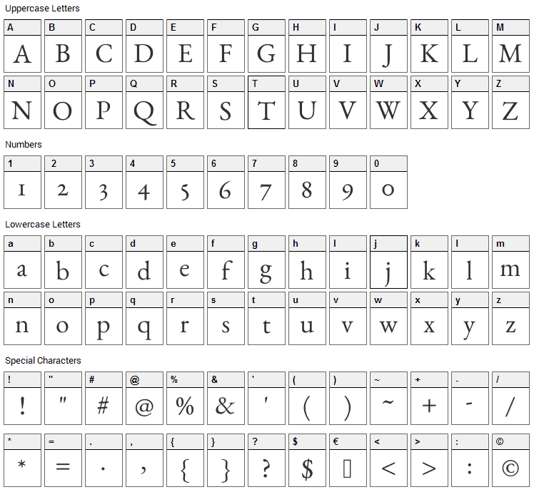 EB Garamond Font Character Map