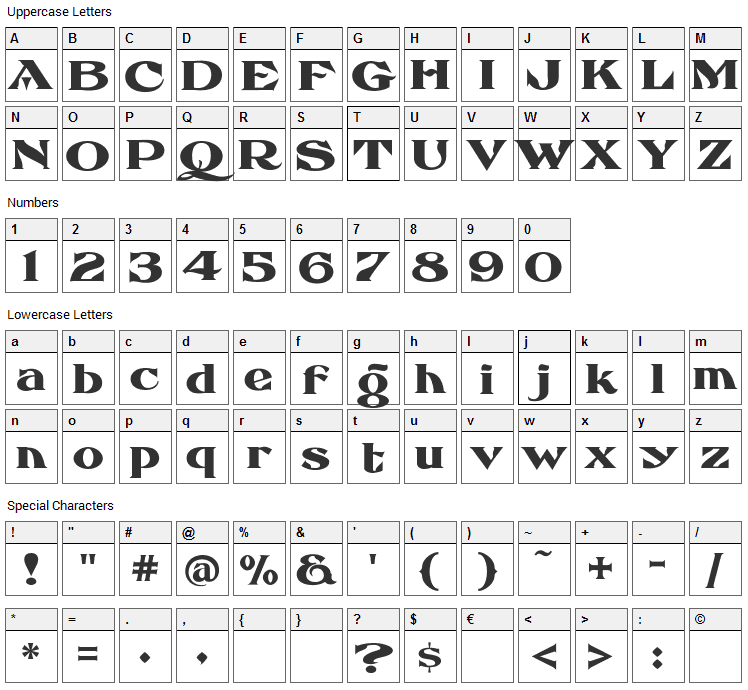 Eccentric French Font Character Map