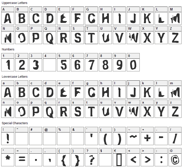 Eclipsed Moon Font Character Map