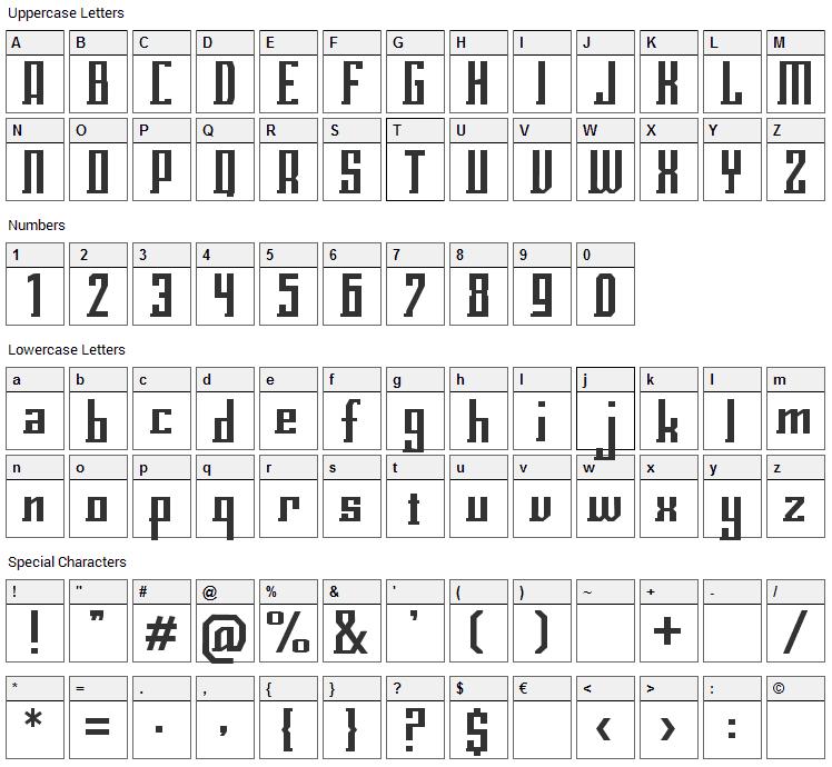 Eclix Font Character Map