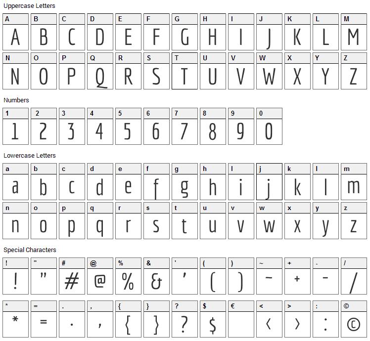 Economica Font Character Map