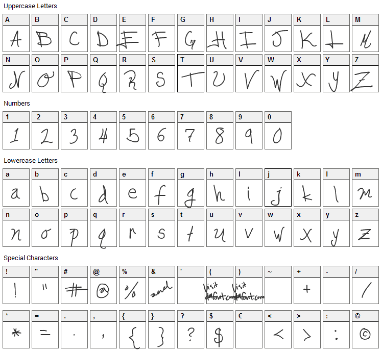 Edgar da cool Font Character Map