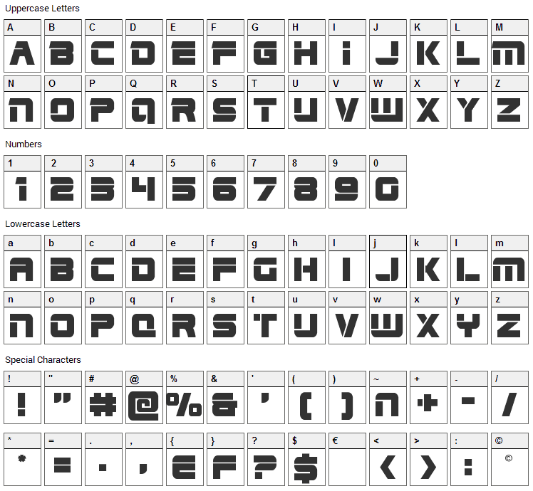 Edge Racer Font Character Map