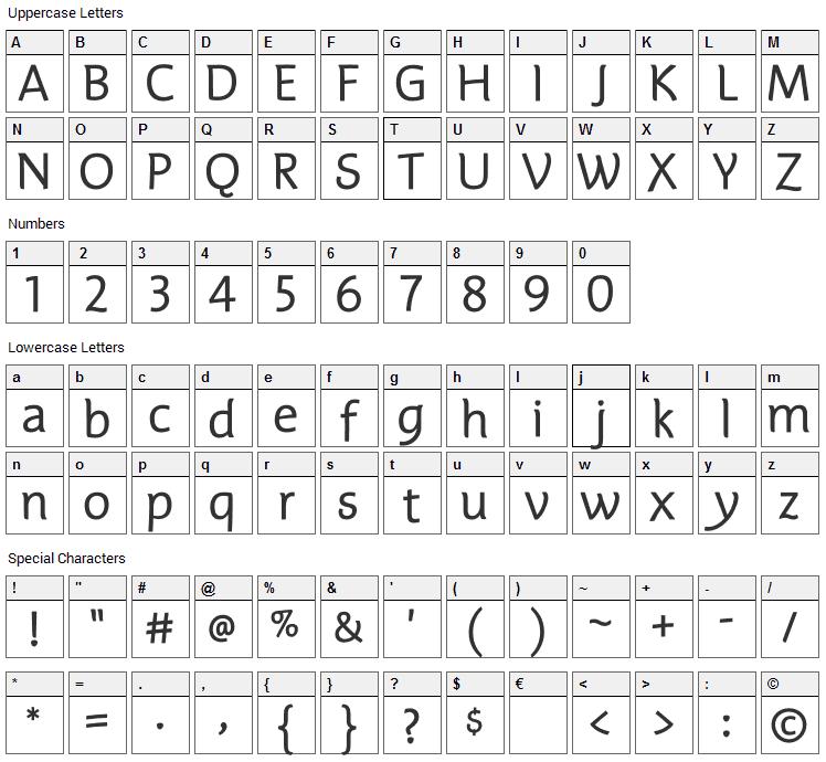 Edifice Font Character Map