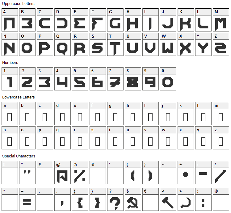 Edistys Font Character Map
