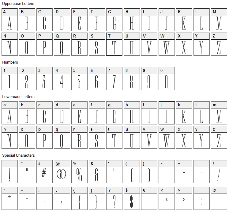 Edition Font Character Map
