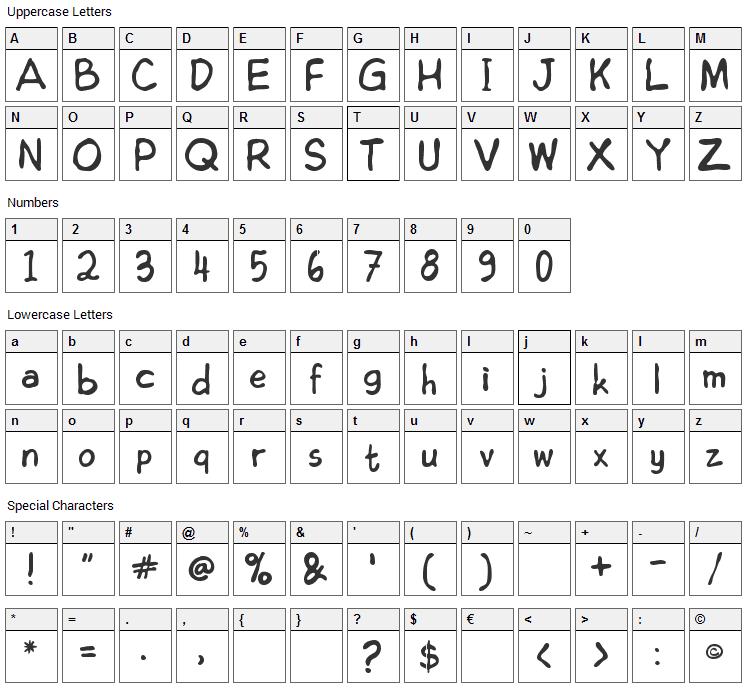 Edoms Handwritting Font Character Map
