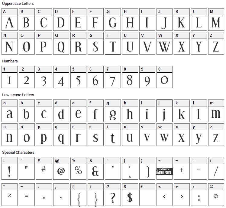 Effloresce Font Character Map