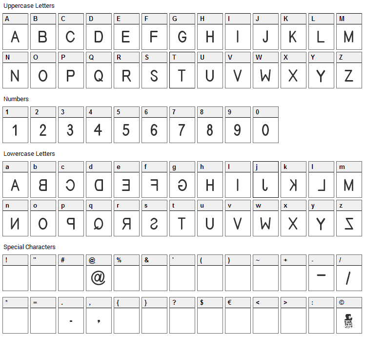 Efitype Reverse Font Character Map