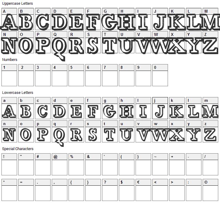Egidia Font Character Map