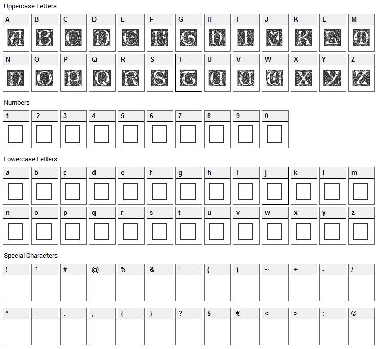 Eileen Caps Font Character Map