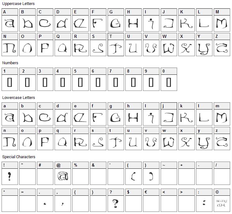 Eisregen Font Character Map