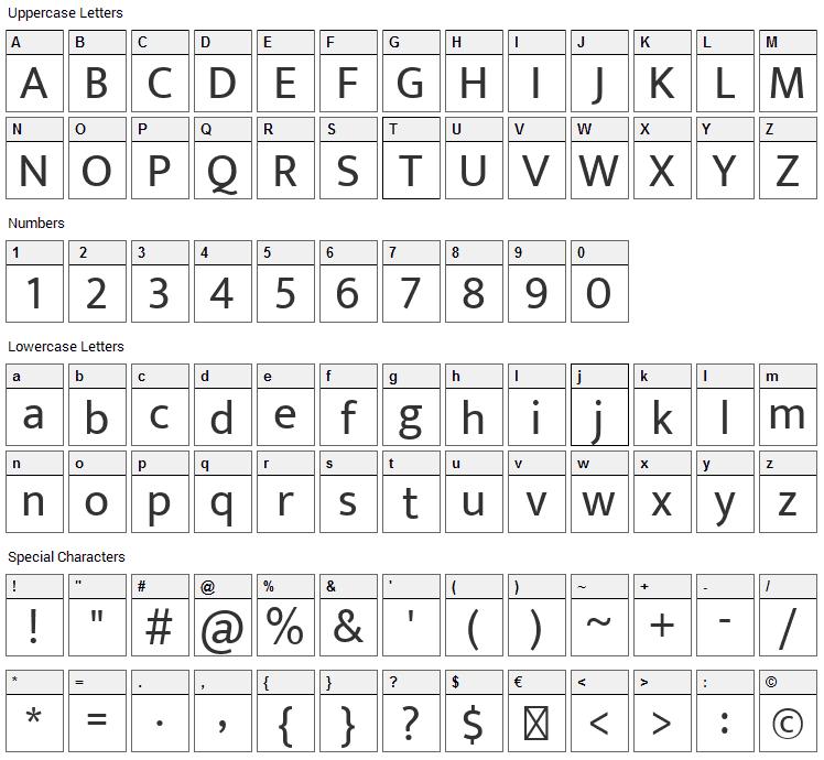 Ek Mukta Font Character Map