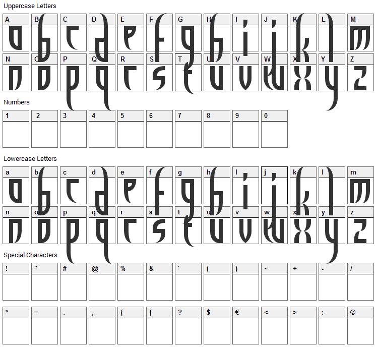 El Diablo Font Character Map