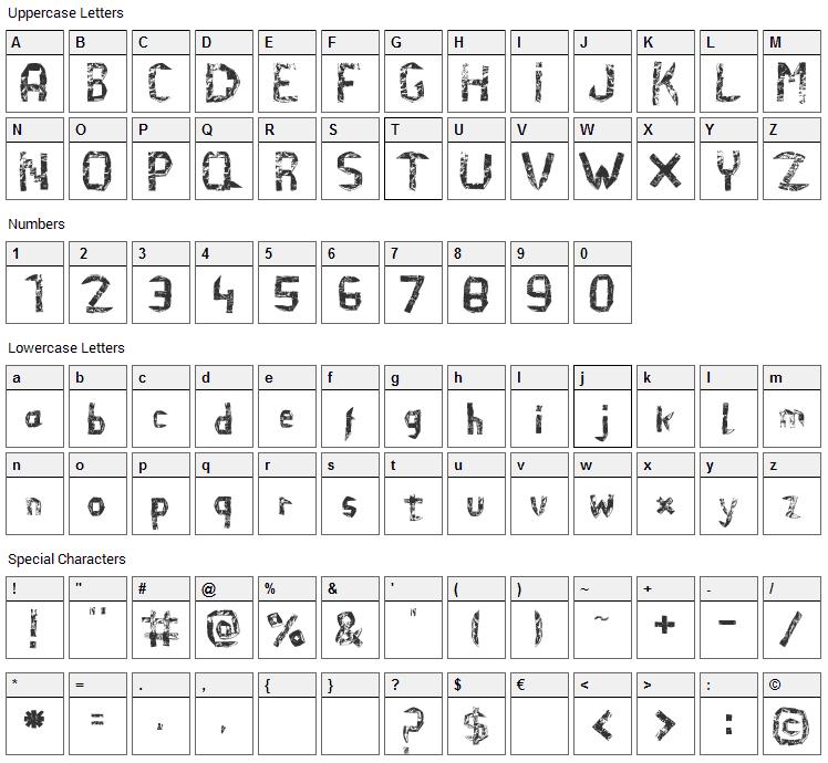 El Efi de Arena Font Character Map