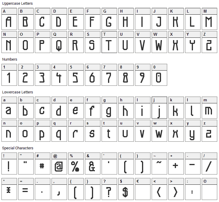 Elb Tunnel Font Character Map