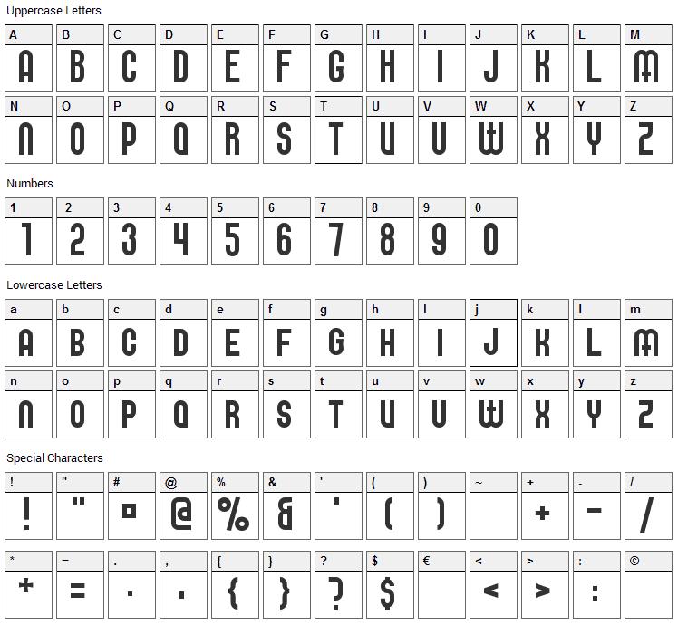 Elbaris Font Character Map