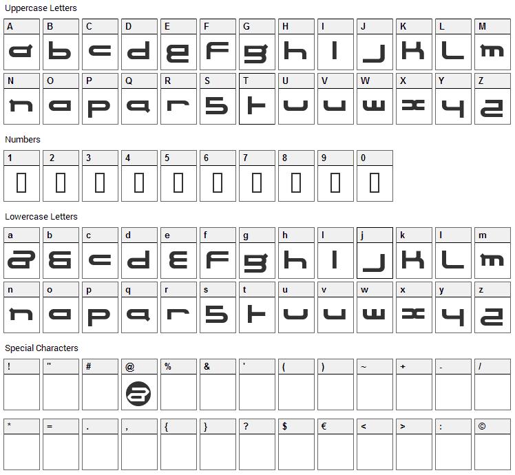 Electrance Font Character Map