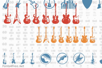 Electric Guitar Icons Font