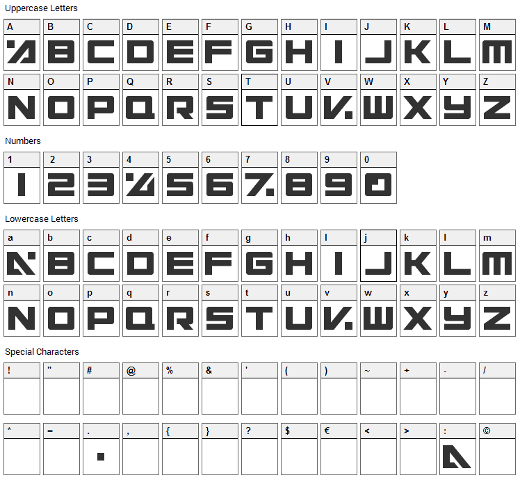 Electric Toaster Font Character Map
