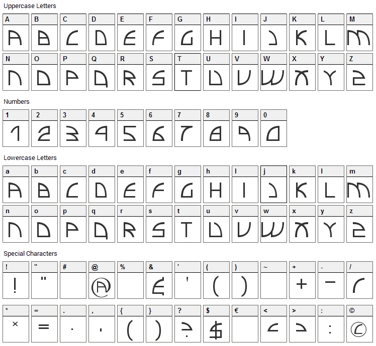 Electro Insanity Font Character Map