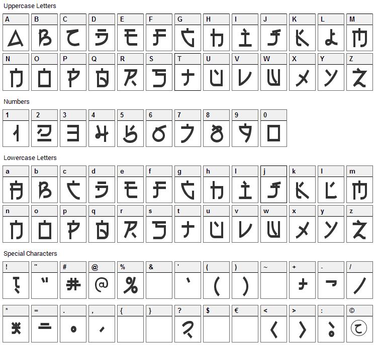 Electroharmonix Font Character Map