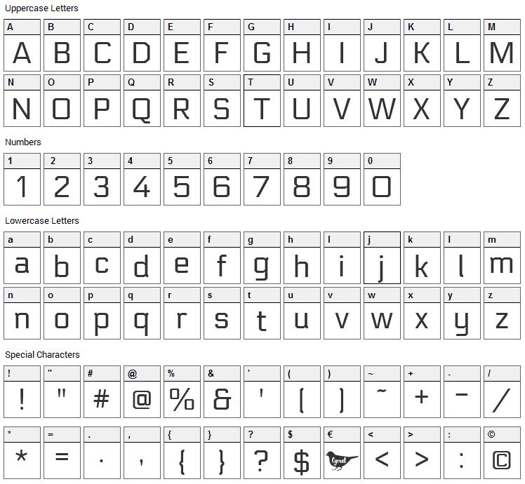 Electrolize Font Character Map