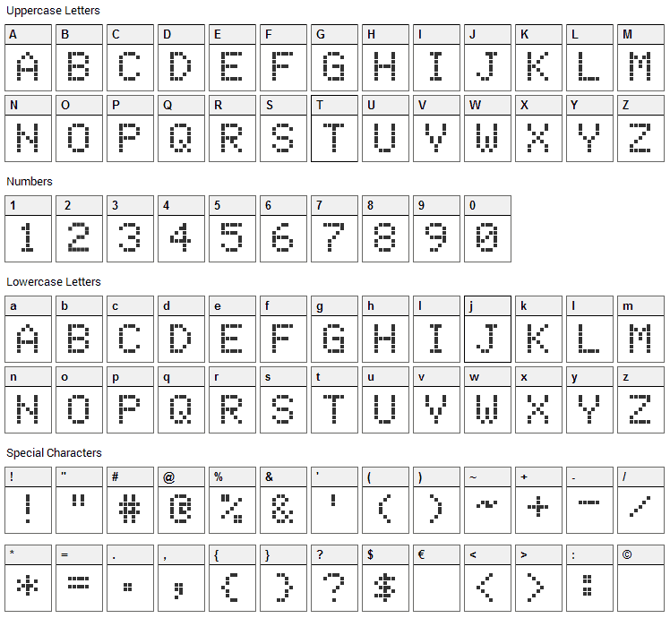 Electronic Highway Sign Font Character Map