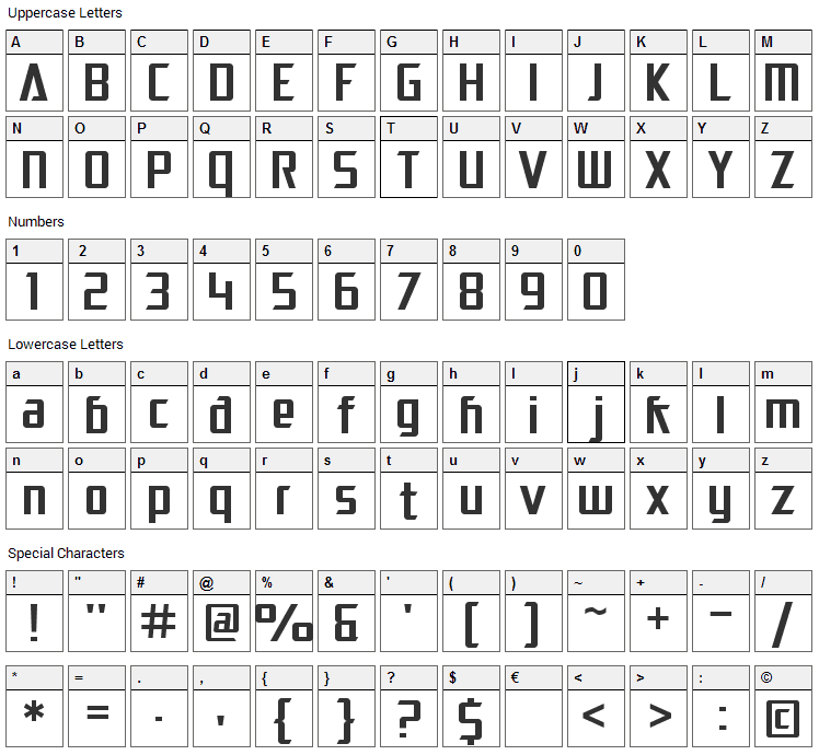 Electrotome Font Character Map
