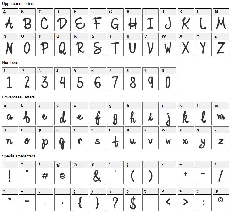 Elegant Ink Font Character Map