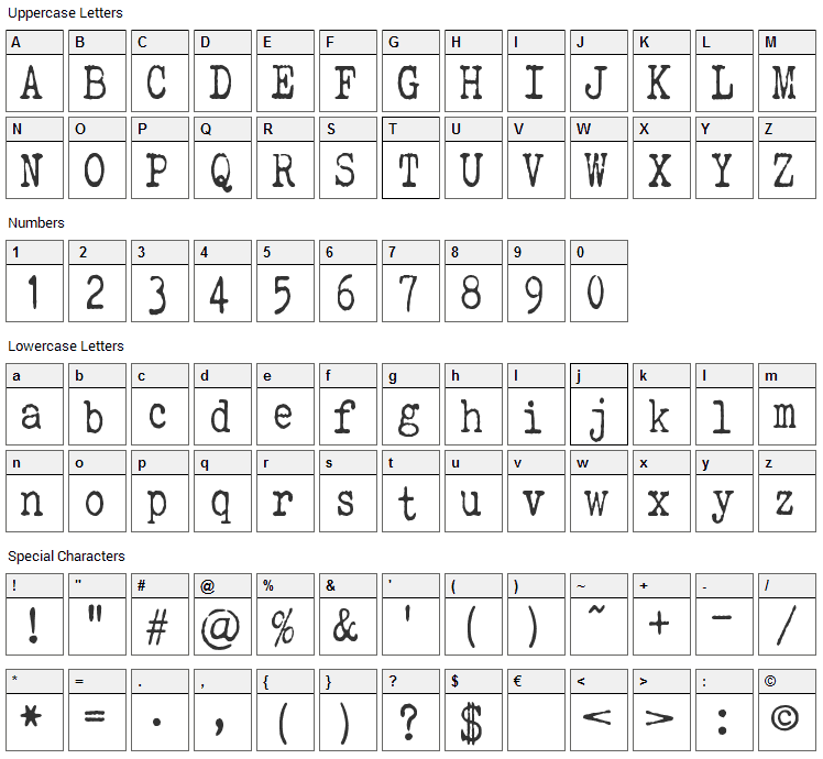 Elegant Typewriter Font Character Map
